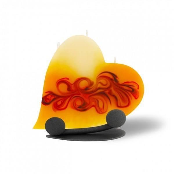 Herz Kerze mit Halterung und 3 Dochten - rot/braun/creme/orange