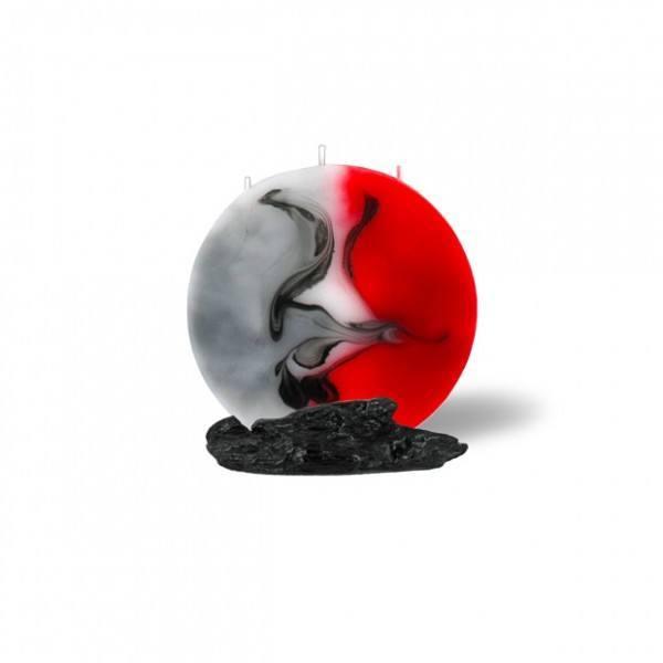 Mond Kerze mini 3 Dochte - rot/grau/weiß
