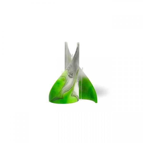 Segel Kerze mini 3 Dochte -  grün/weiss/grau