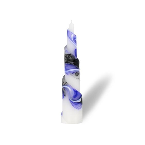 Rulo Kerze -M- 1 Docht -  lila/weiß/grau