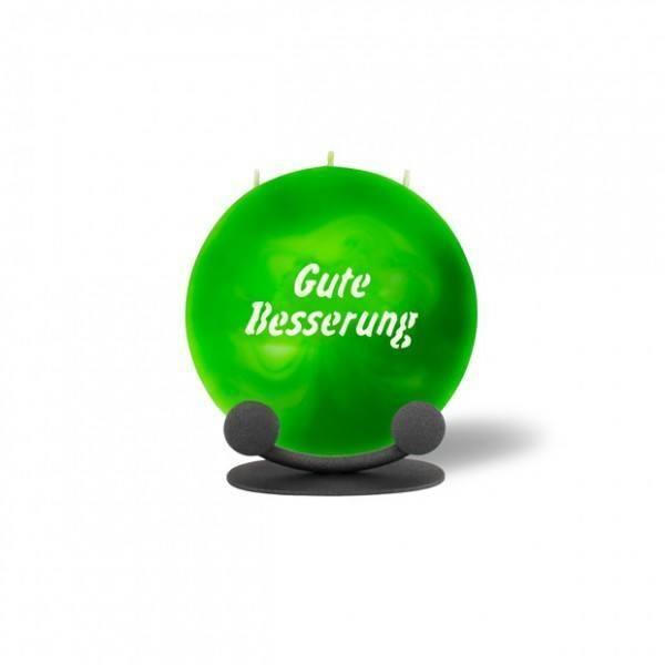Mond Kerze mini 745 Halterung 14 cm Ø - Gute Besserung - grün marmoriert -