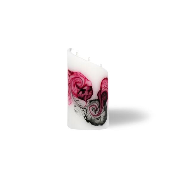 Zylinder Kerze mini 5 Dochte -  rosa/aubergine/grau/weiß