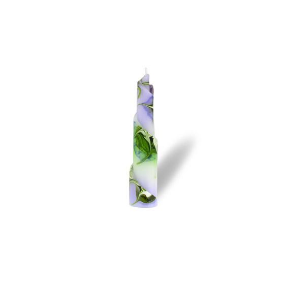 Rulo Kerze -S- 1 Docht -  lila/grün/weiß