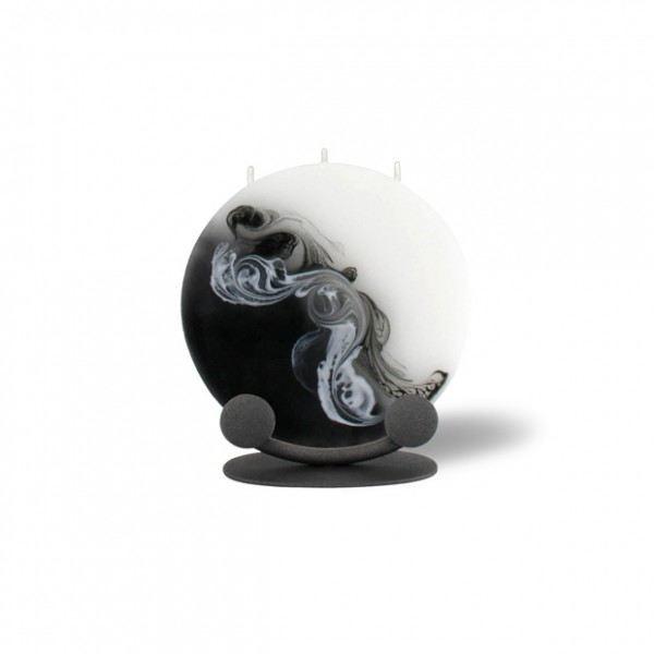 Mond Kerze mini mit Halterung 3 Dochte -  weiß/schwarz