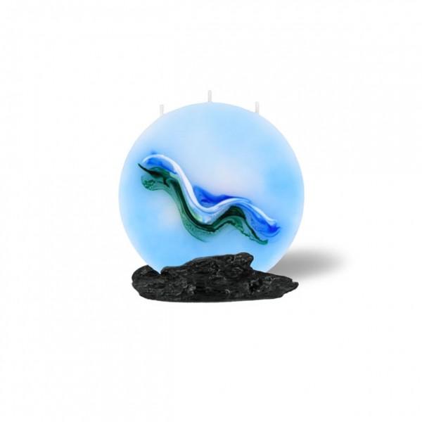 Mond Kerze mini - hellblau/grün