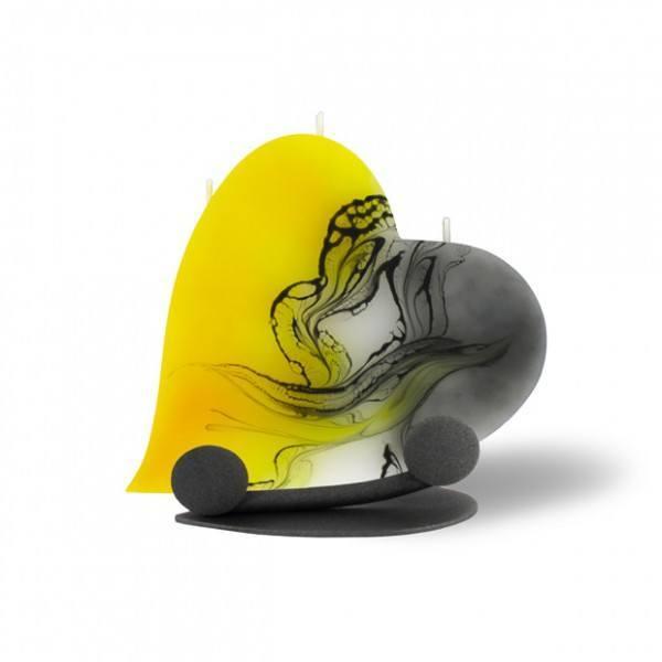 Herz Kerze 603 Halterung - gelb/weiß/grau