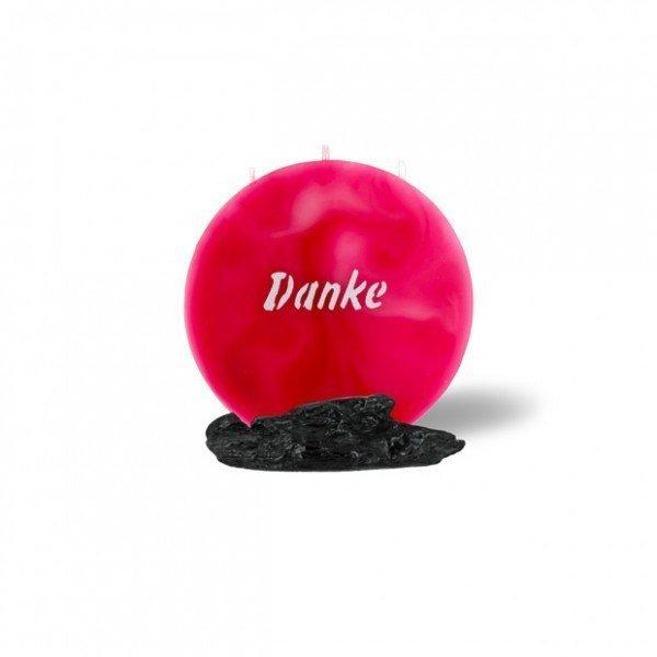 Mond Kerze mini 746 - 14 cm Ø - Danke - rosa -