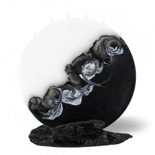 Mond Kerze groß 6 Dochte -  weiß/schwarz