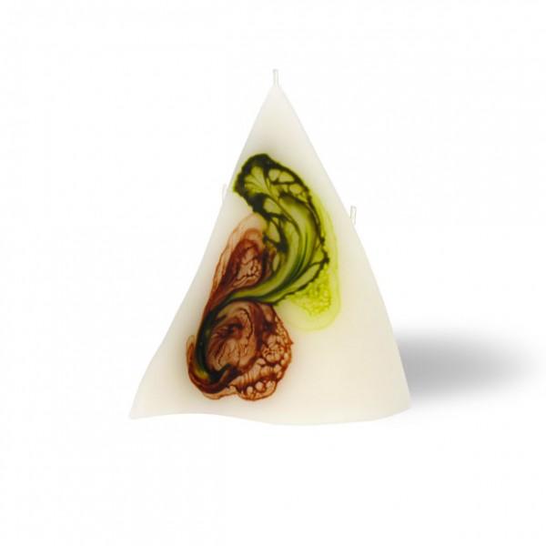 Triangel Kerze 3 Dochte - retrogrün/olivegrün/cappuccino/creme