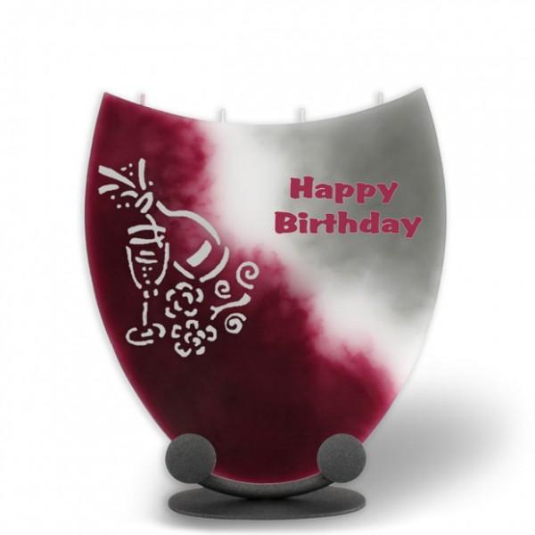 Kerze beschriftet und mit Sekt & Glas verziert