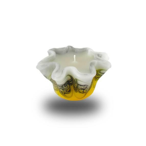 Flower -S- Kerze 603 - gelb/weiß/grau