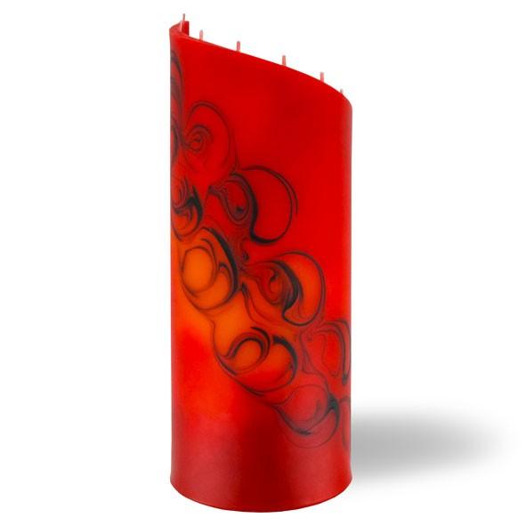 Zylinder Kerze groß 8 Dochte - rot/braun/orange