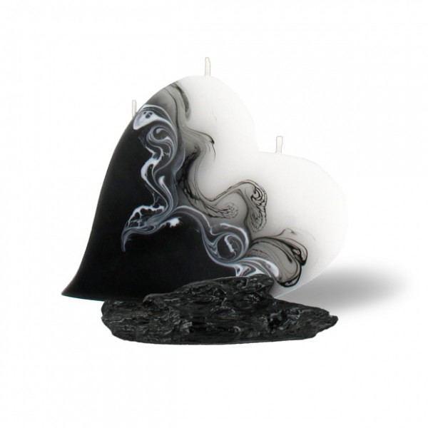 Herz Kerze mit 3 Dochten -  weiß/schwarz