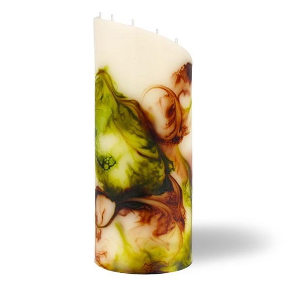 Zylinder Kerze groß 8 Dochte -  retrogrün/olivegrün/cappuccino/creme