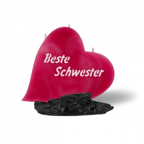 Herz Kerze 840 - Beste Schwester - rosa -