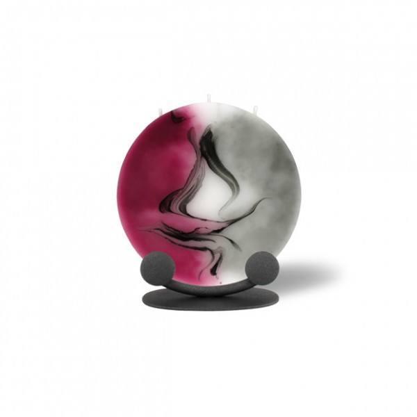 Mond Kerze mini 602 Halterung - aubergine/weiß/grau