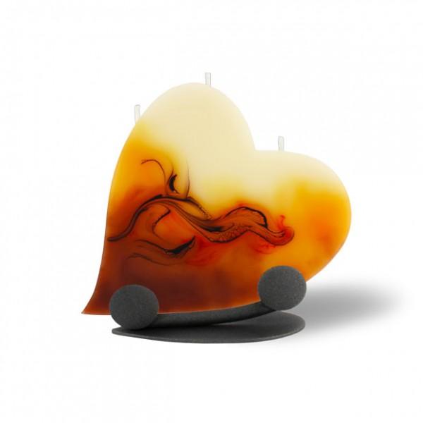 Herz Kerze mit Halterung und 3 Dochten - cappuccino/hellorange/braun/creme