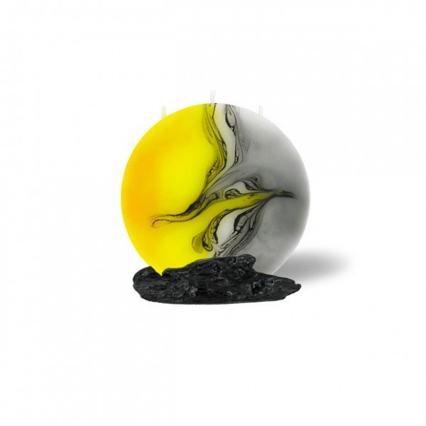 Mond Kerze mini 603 - gelb/weiß/grau