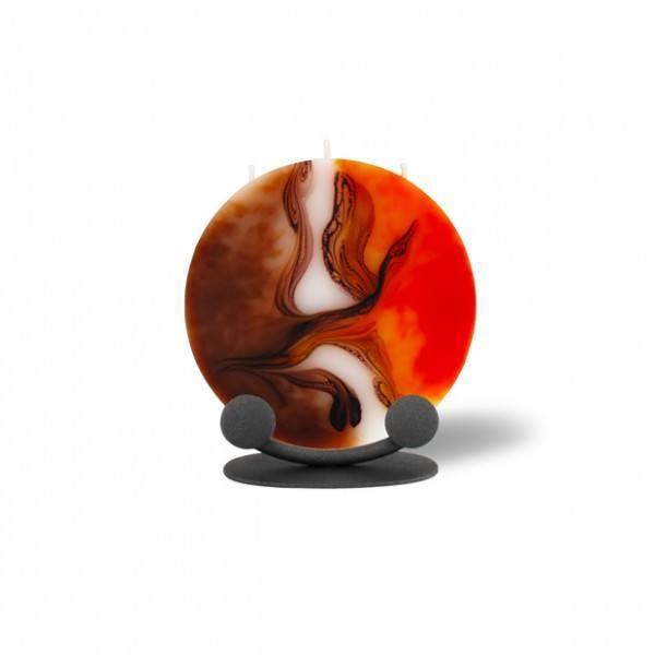 Mond Kerze mini mit Halterung 3 Dochte -  orange/weiß/Cappuccino
