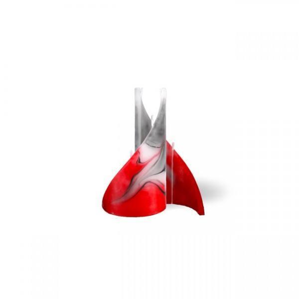 Segel Kerze mini 3 Dochte -  rot/grau/weiß