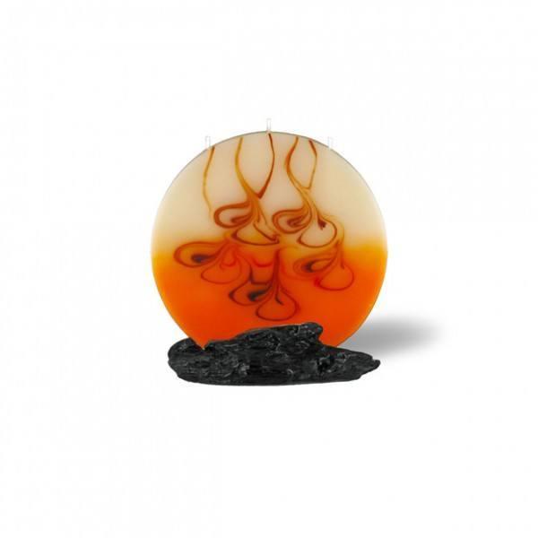 Mond Kerze mini 3 Dochte - rot/braun/creme/orange