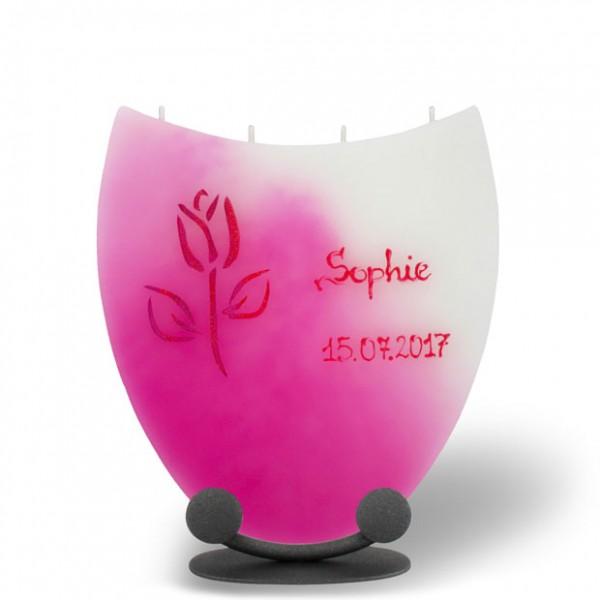 Amphore Kerze 845 - Name + Datum + Tulpe - rosa/weiß