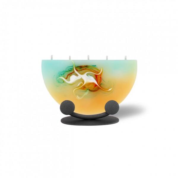 Halbmond Kerze mini mit Halterung 5 Dochte