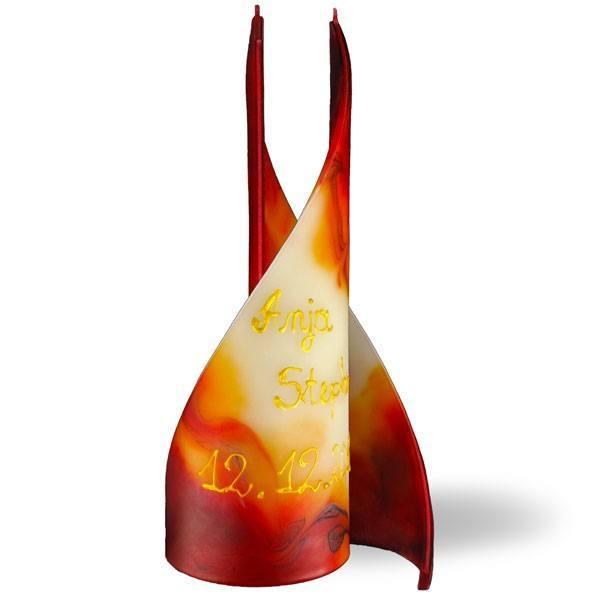 Segel Kerze 2 Docht mit Schrift