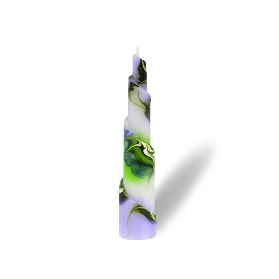 Rulo Kerze -M- 1 Docht -  lila/grün/weiß