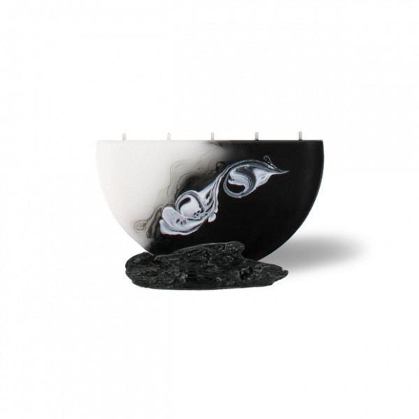 Halbmond Kerze mini 5 Dochte -  weiß/schwarz