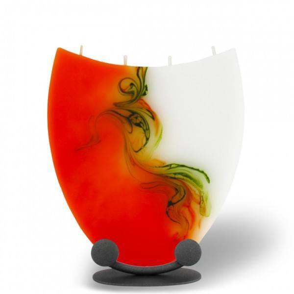 Amphore Kerze mit 4 Dochten - orange/olive/weiß