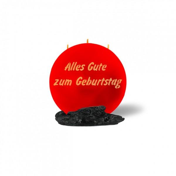 Mond Kerze mini 749 - 14 cm Ø - Alles Gute zum Geburtstag - rot -