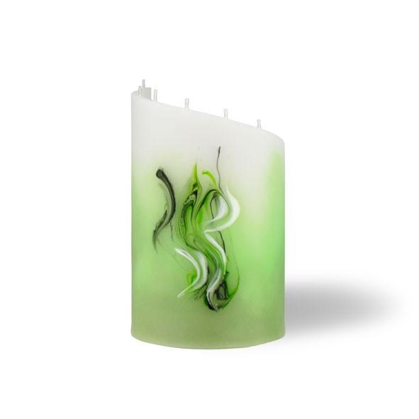 Zylinder Kerze klein 8 Dochte -  hellgrün mit grau untergemischt