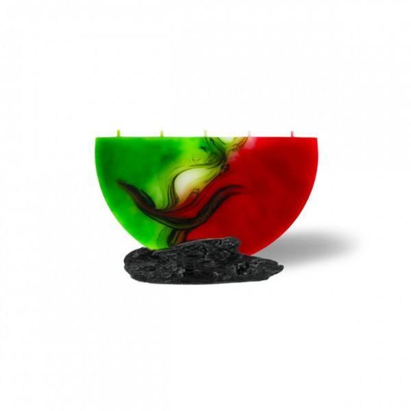 Halbmond Kerze mini 5 Dochte - rot/weiß/grün