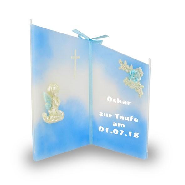 Wunsch Kerze 888 - Taufe - beschriftet, Name + Datum - hellblau/weiß