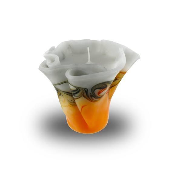 Flower Kerze -M- mit einem Docht  - orange/grau/weiß
