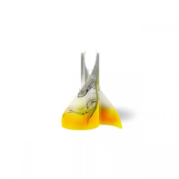 Segel Kerze 603 - mini - gelb/weiß/grau