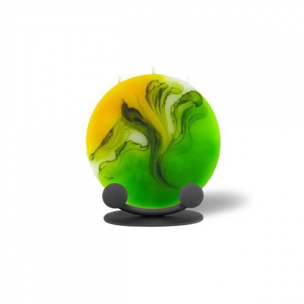 Mond Kerze mini 606 Halterung - gelb/grün/weiß