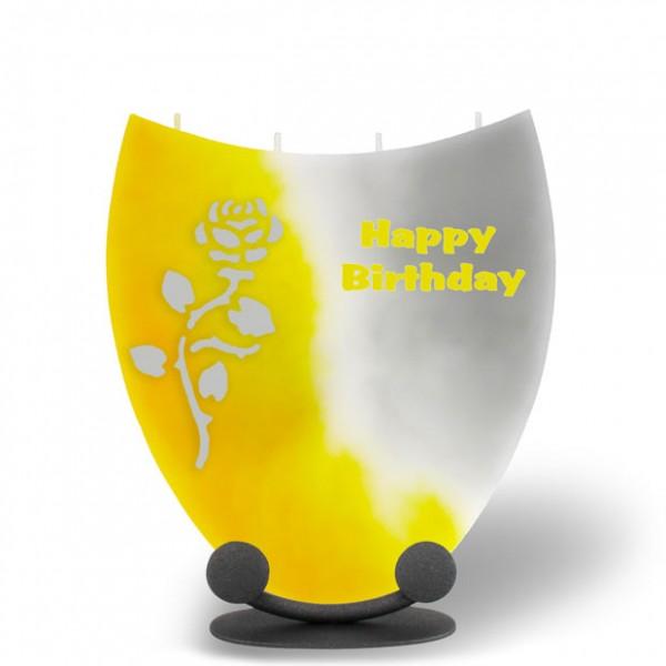 Amphore Kerze - Happy Birthday - gelb/weiß/grau