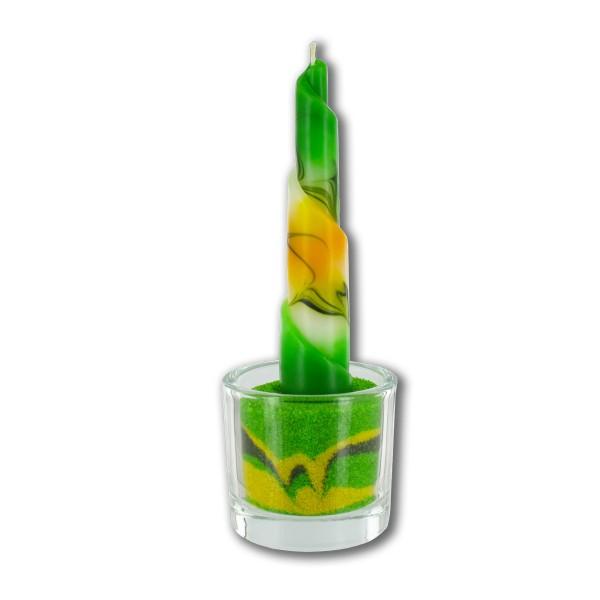 Rulo Deko Set mit Glas und Sand -  gelb/grün/weiß
