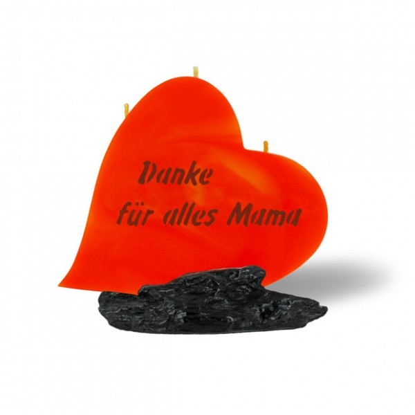 Herz Kerze 789 - Danke für alles Mama - orange-braun -