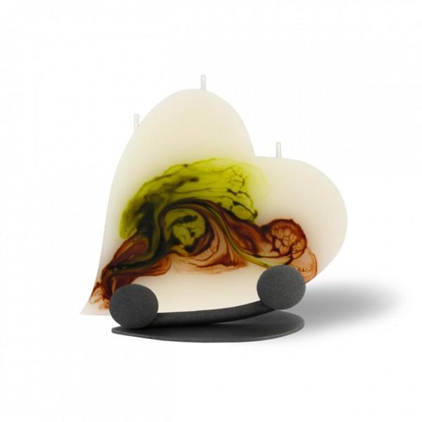 Herz Kerze 624 Halterung - retrogrün/olivegrün/cappuccino/creme