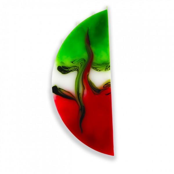 Viertelmond Kerze 605 ohne Halterung - rot/weiß/grün