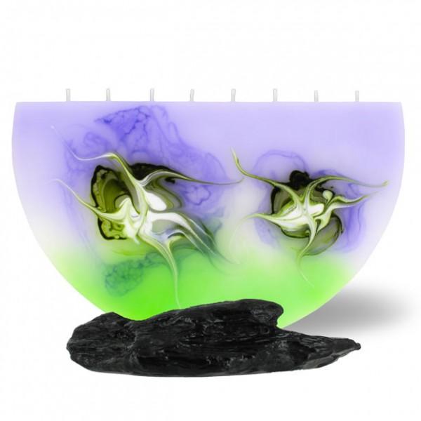 Halbmond Kerze groß 8 Dochte -  lila/grün/weiß