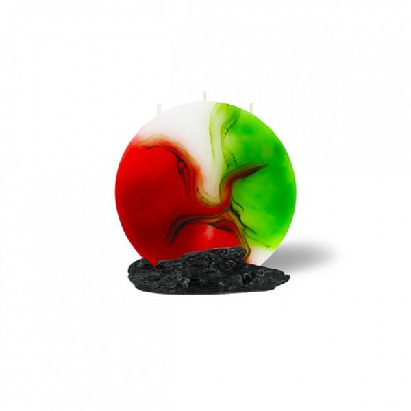 Mond Kerze mini 3 Dochte - rot/weiß/grün