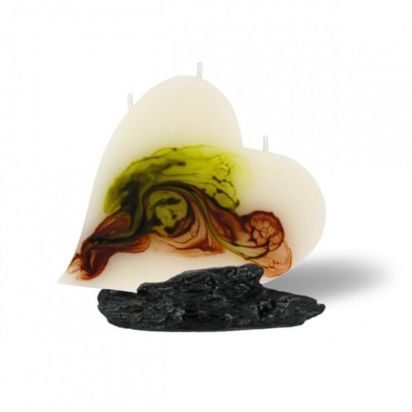 Herz Kerze mit 3 Dochten -  retrogrün/olivegrün/cappuccino/creme