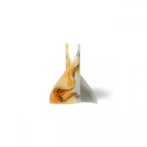 Segel Kerze mini 3 Dochte - orange/grau/weiß