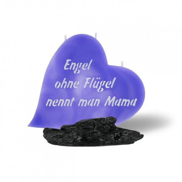 Herz Kerze 834 - Engel ohne Flügel nennt man Mama - lila marmoriert -