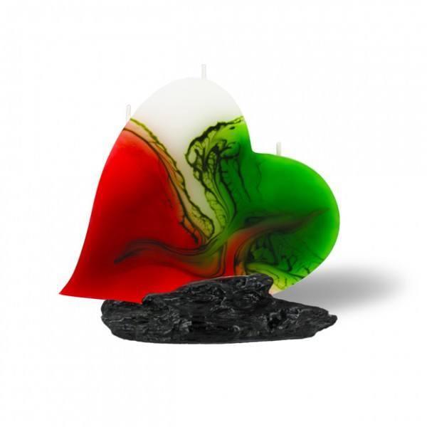 Herz Kerze mit 3 Dochten - rot/weiß/grün