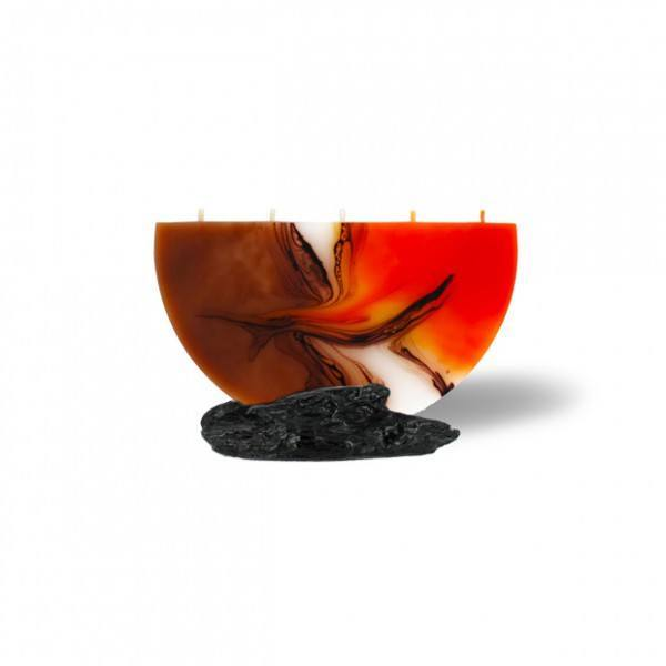 Halbmond Kerze mini 5 Dochte -  orange/weiß/Cappuccino